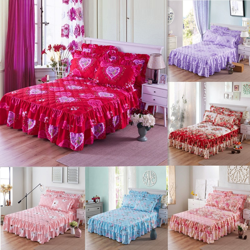 Thicken Bed Skirt Double Lace Bed Skirt Bedspread Polyester Bed Sheet for Wedding Housewarming Gift Bed Cover with Elastic Band