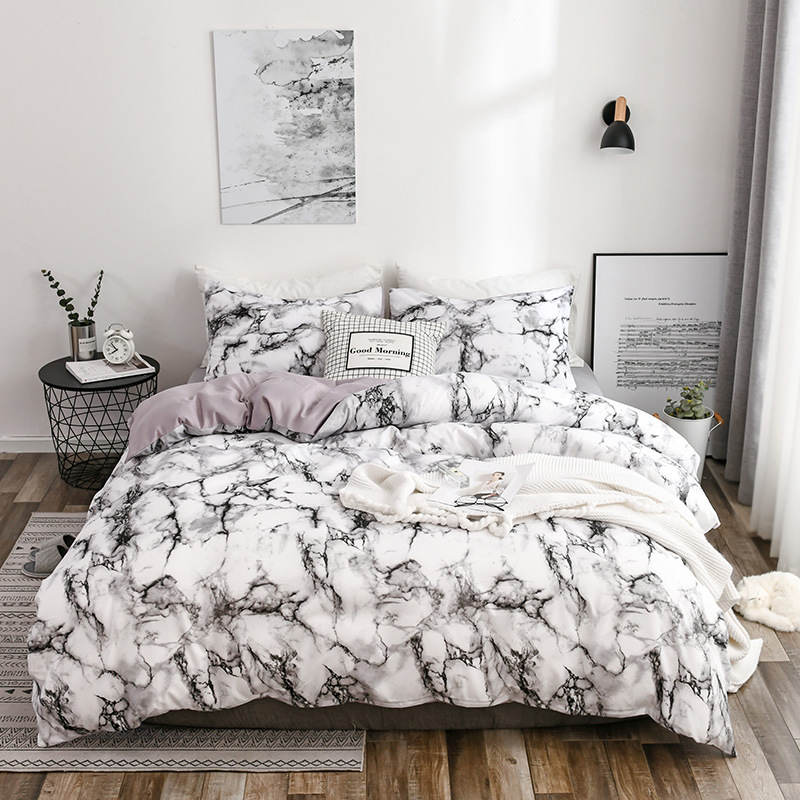 Hot Beddings Marble Pattern Pure Plain Quilt Cover Bedsheet Three 4-piece Bedding Set