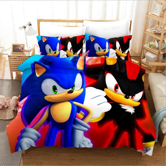 Anime 3D digital printed home textile 4-piece set of sonic electric kid animated bedding