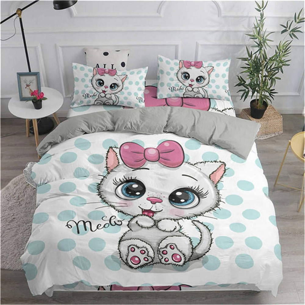 ZEIMON 3d Cartoon Cat Printing Bedding Set Microfiber Home Textiles Black And White Duvet Cover Set Queen King Size Bed Sets