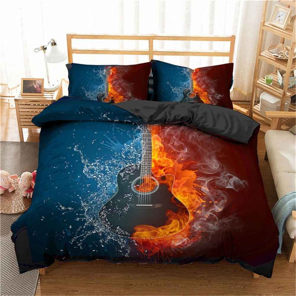 ZEIMON Bedding Set 3d Music Note Printed Home Textiles Guitar Pattern Duvet Cover Set Luxury Comforter King Size Bedclothes