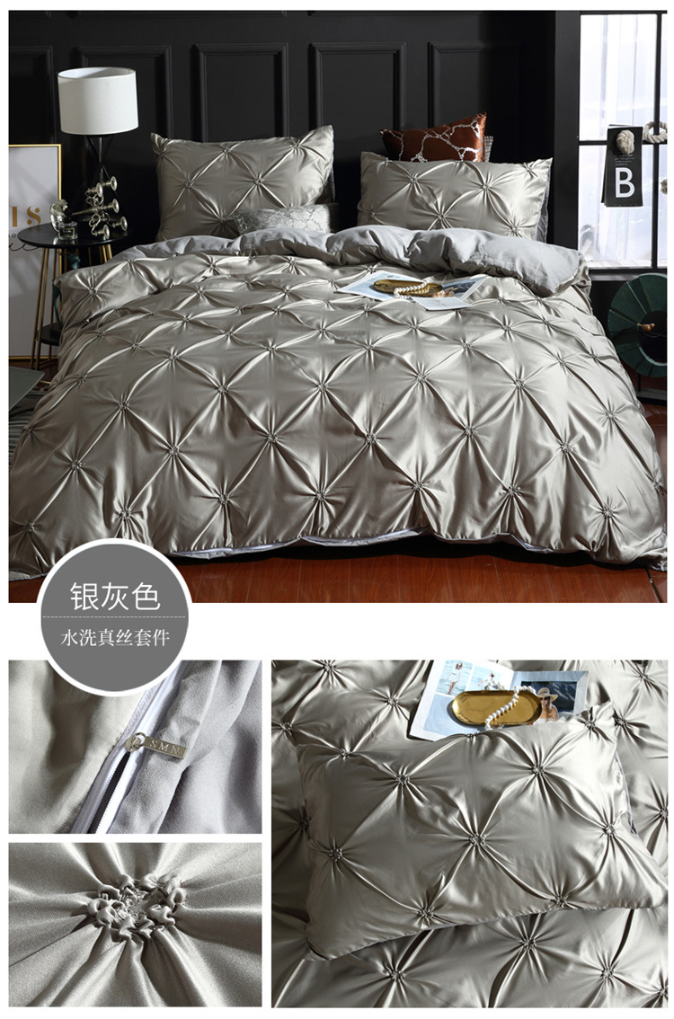 Satin Silk Comforter Bedding Set Luxury Comfortable Adult Bedding Linens Red Gray Bed Cover Twin Bed Duvet Cover Set Pillowcases