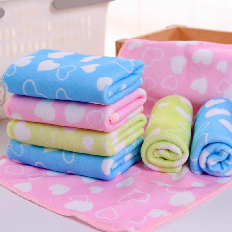 Baby Kids Cotton Towels Baby Bath Towel Baby Cartoon Animal Heart Print Bath Towel Absorbent Drying Swimwear Drop