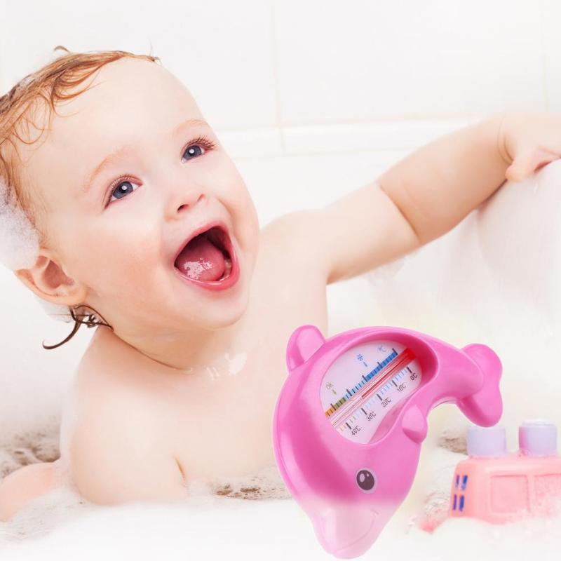 Cute Baby Dolphin Shape Water Thermometer Plastic Floating Bath Toy Infant Care Household Toddler Shower Sensor Thermometer