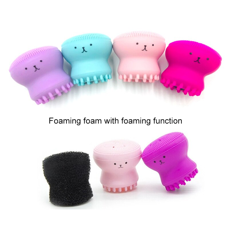 Silicone Face Cleansing Brush Cute Octopus Shape Facial Cleanser Pore Cleaner Exfoliator Face Scrub Washing Brush Skin Care
