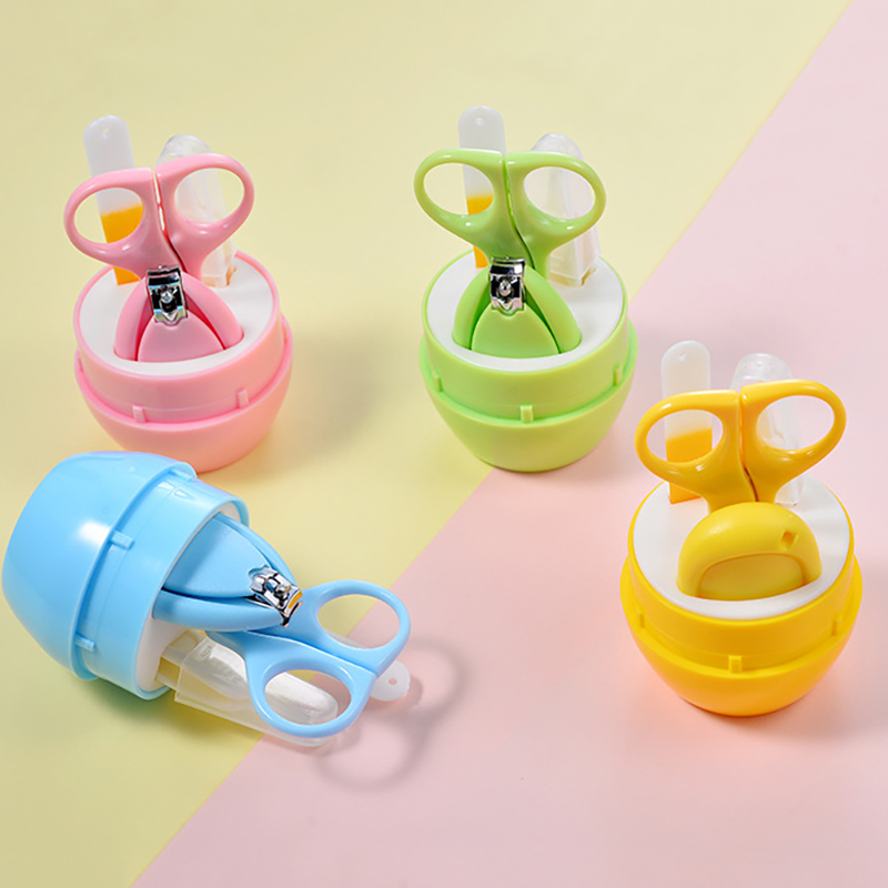 4 in 1 Cartoon baby nail clippers set 4 sets of baby nail care barrel nail clippers for Bayby and Kids