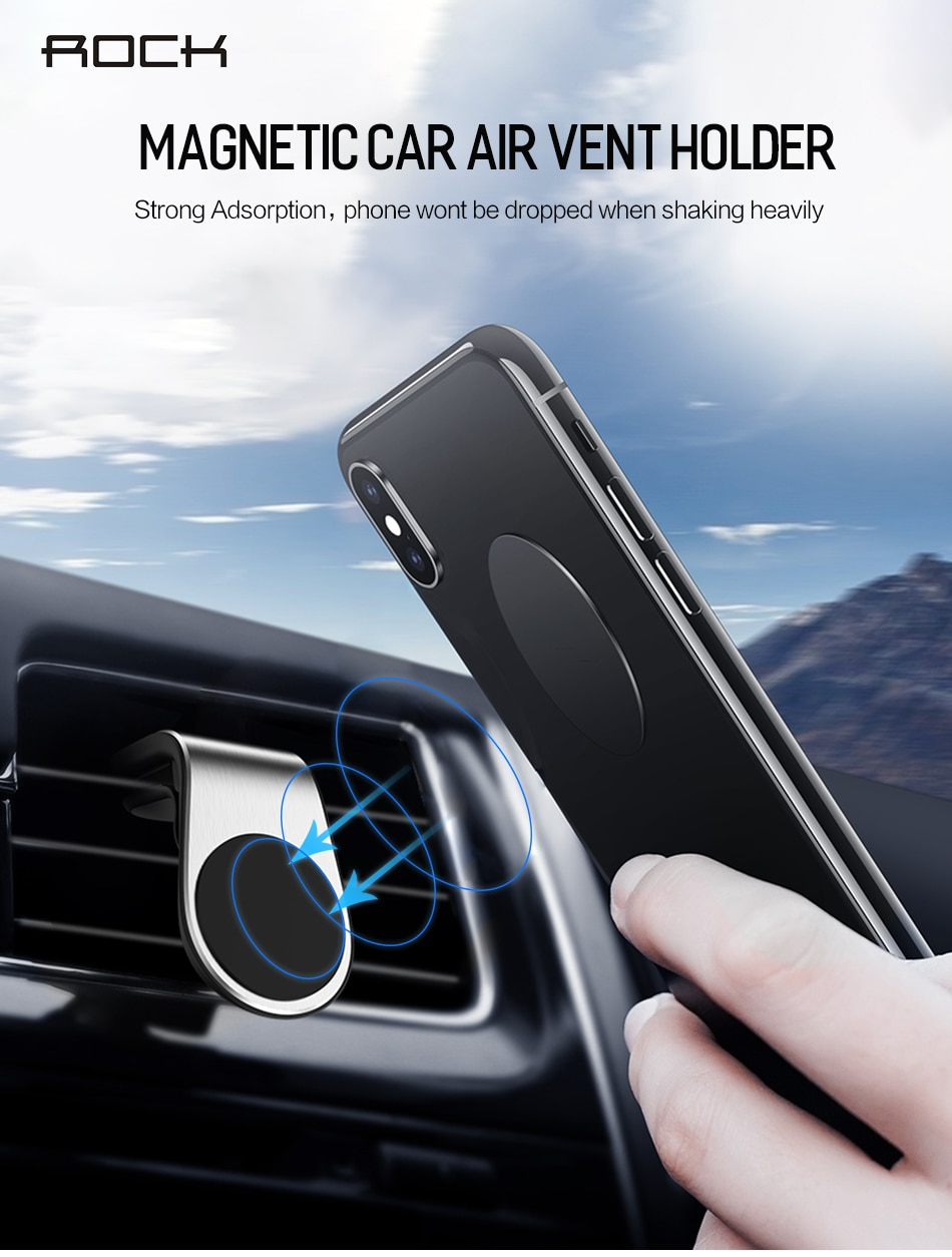 Rock Metal Magnetic Car Phone Holder for iPhone Samsung Xiaomi 360 Air Magnet Stand in Car GPS