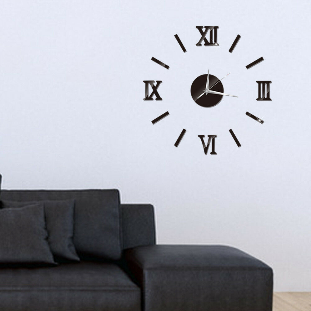 Modern DIY Large Wall Clock 3D Mirror Surface Sticker Home Decor Art Giant Wall Clock Watch With Roman Numerals Big Clock