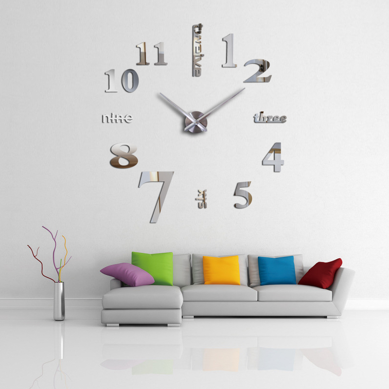 Affordable DIY mirror effect home decoration wall stickers  Brief style still life quartz living room Affordable wall clock