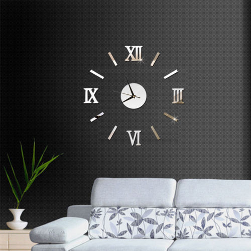 Wall Clock Pattern Luxury Large DIY 3D Decorative Wall Sticker Home Decor Clock Living Room Home Decoration Mirror Art Designer