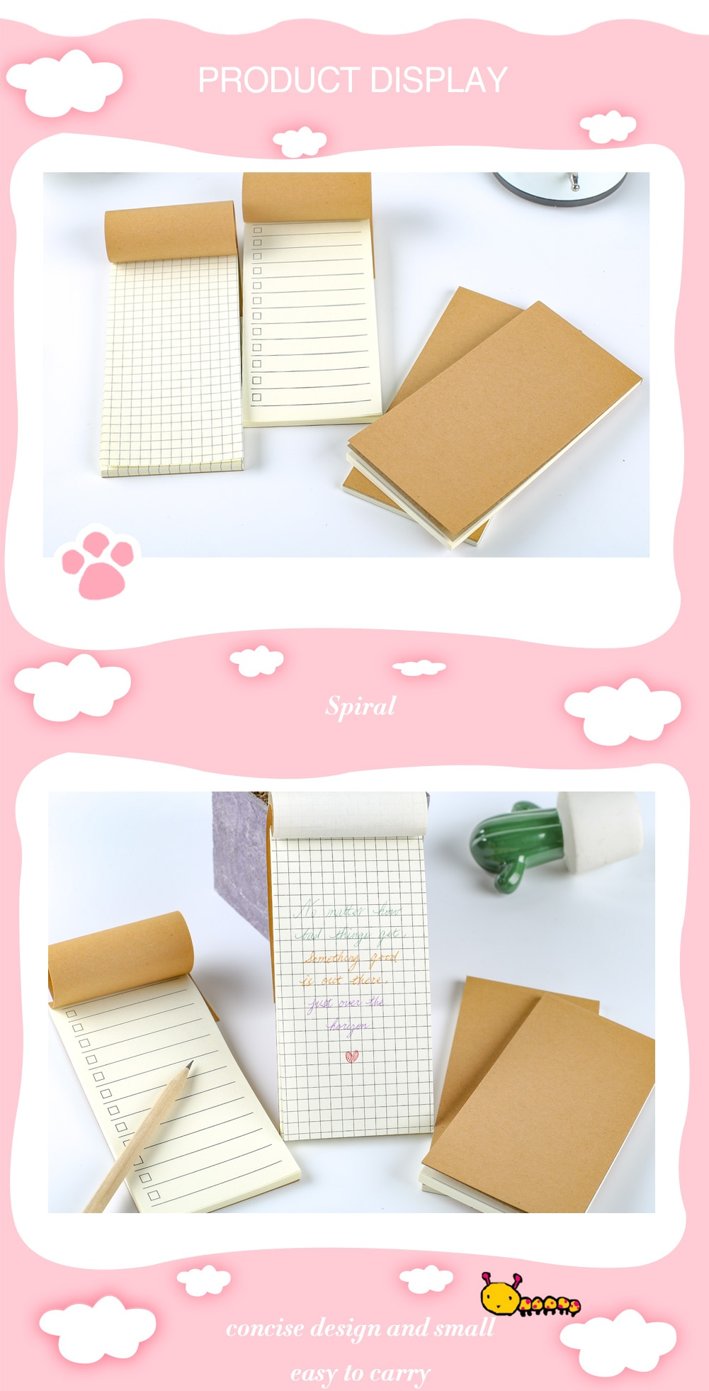Notebook Planner Office Accessory Blank Grid Diary Binder Notepad Agenda Stationery Journal to Do List Shopping Check Stationary