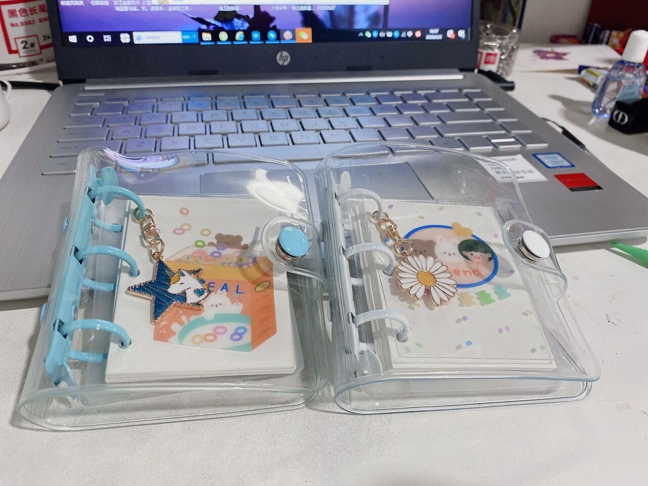 Cute Transparent PVC Loose-leaf Notebook Metal 3 Hole Mini Loose-leaf Coil Hand Book Shell Kawaii Stationery Scrapbooking Diary