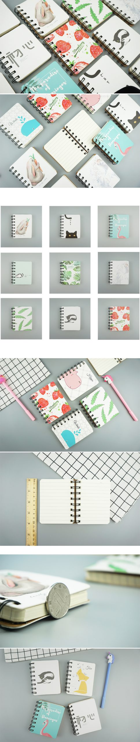 cartoon flamingo strawberry spiral notebook mini portable week planner diary notepad stationery office school supplies 100 page