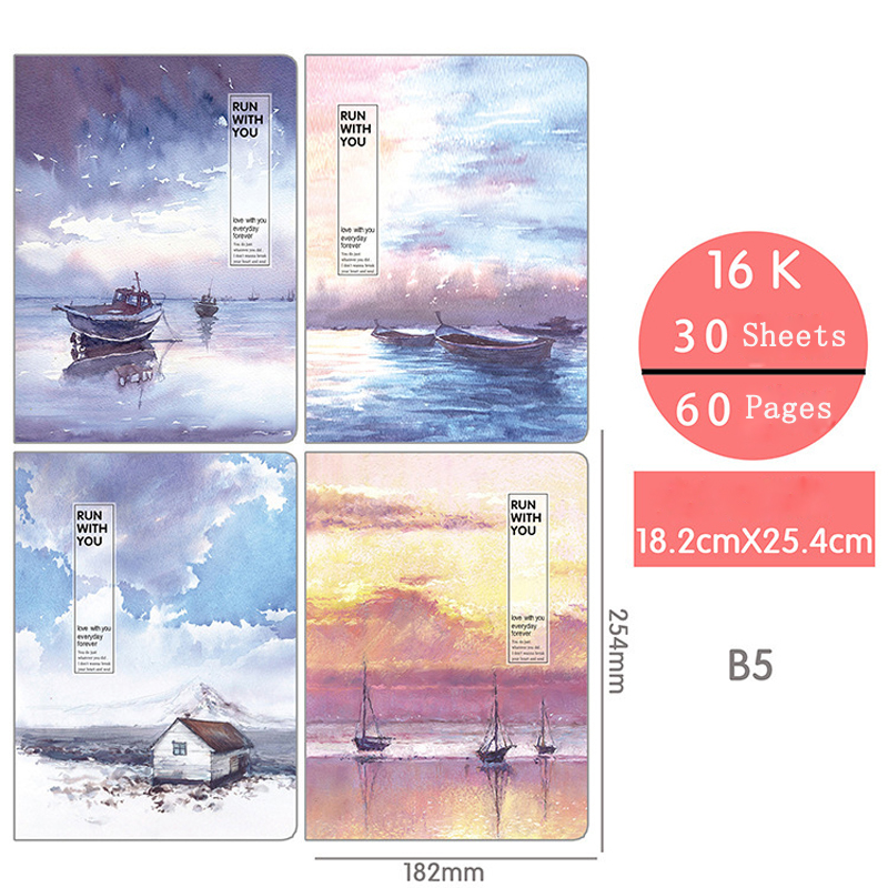 EZONE 1PC Flamingos Notebook Sakura Whale Notebook B5 Line Paper Notebook Travel Diary Sketchbook Weekly Plan Student Stationery