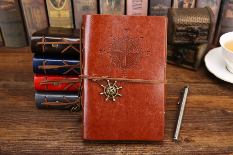 Retro Spiral Notebook Diary Notepad Vintage Pirate Anchors PU Leather Note Book Replaceable Stationery Gift Traveler Journal
