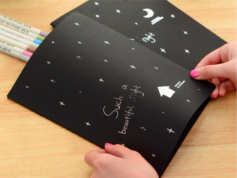 1pc Notebook Black Paper Diary Notebook 16K 32K 56K Sketch Pad Graffiti Painting Stationery Gift