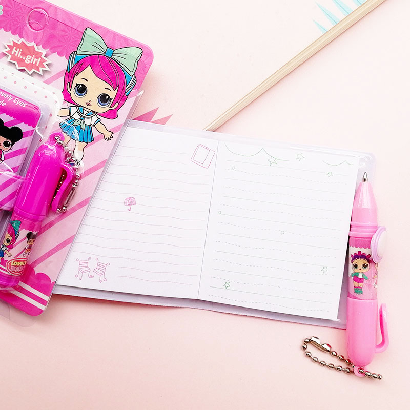 1 Set Cute Doll Notebook with Ballpoint Pen Kawaii Girl Writing Pads Diary Book for Kids Gift School Stationery Supply