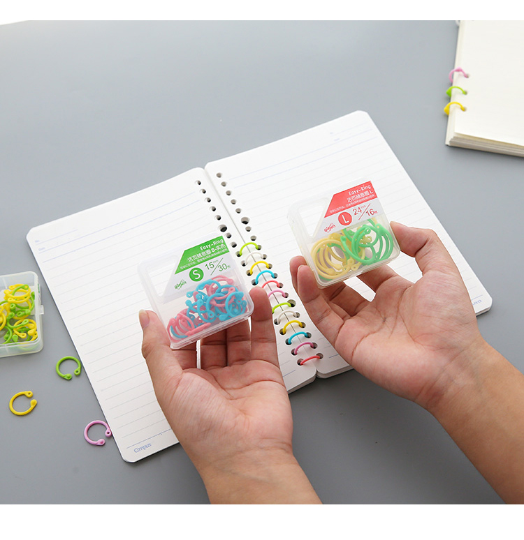 Creative Colored Easy Ring Paper Notebook Loose Leaf Binder Multi-function Circle Calendar Ring Keychain Key Ring Stationery