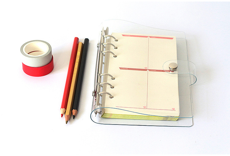 A7 A6 A5 Transparent Loose Leaf Binder Notebook Inner Core Cover Note Book Bullet Journal Planner Office Stationery Supplies