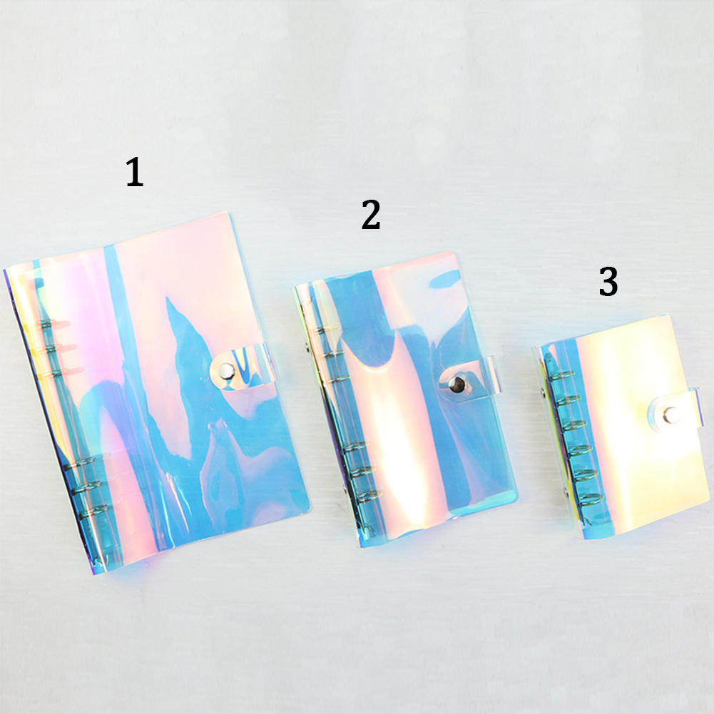 A5 A6 A7 Loose-Leaf Notebook School Office Planner Stationery Laser Cover Diary Notebook PVC Button Gift Glitter