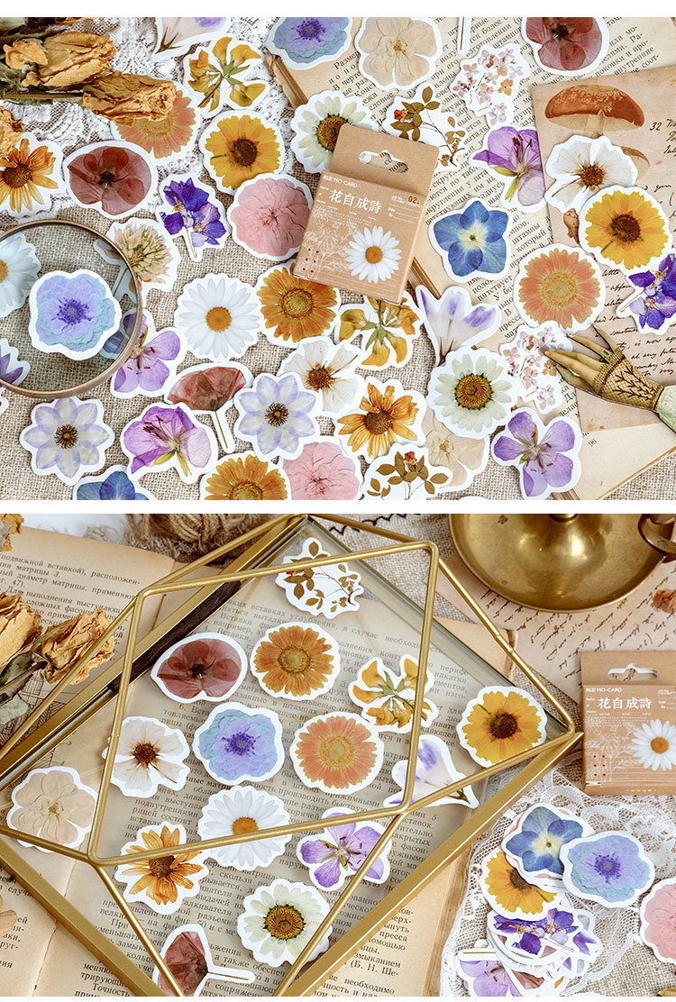 45PCS Lovely Flowers Become Poems Notebook Notepad Sticker Creative Shine Replaceable Sticker Stationery Gift Traveler Journal