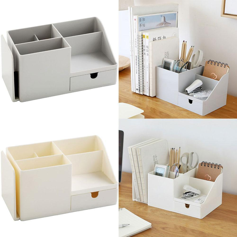Multifunctional Office Desk Organizer Desktop Stationery Storage Box Leather Pen Holder for Remote Control Cosmetics Container