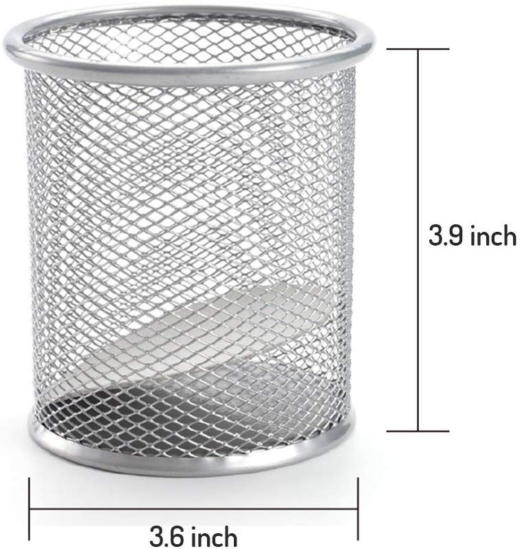 XRHYY Mesh Wire Multi-Functional Desk Pen Organizer Pencil Cup With 3 Compartments Stationery Holder For Office School Supplies