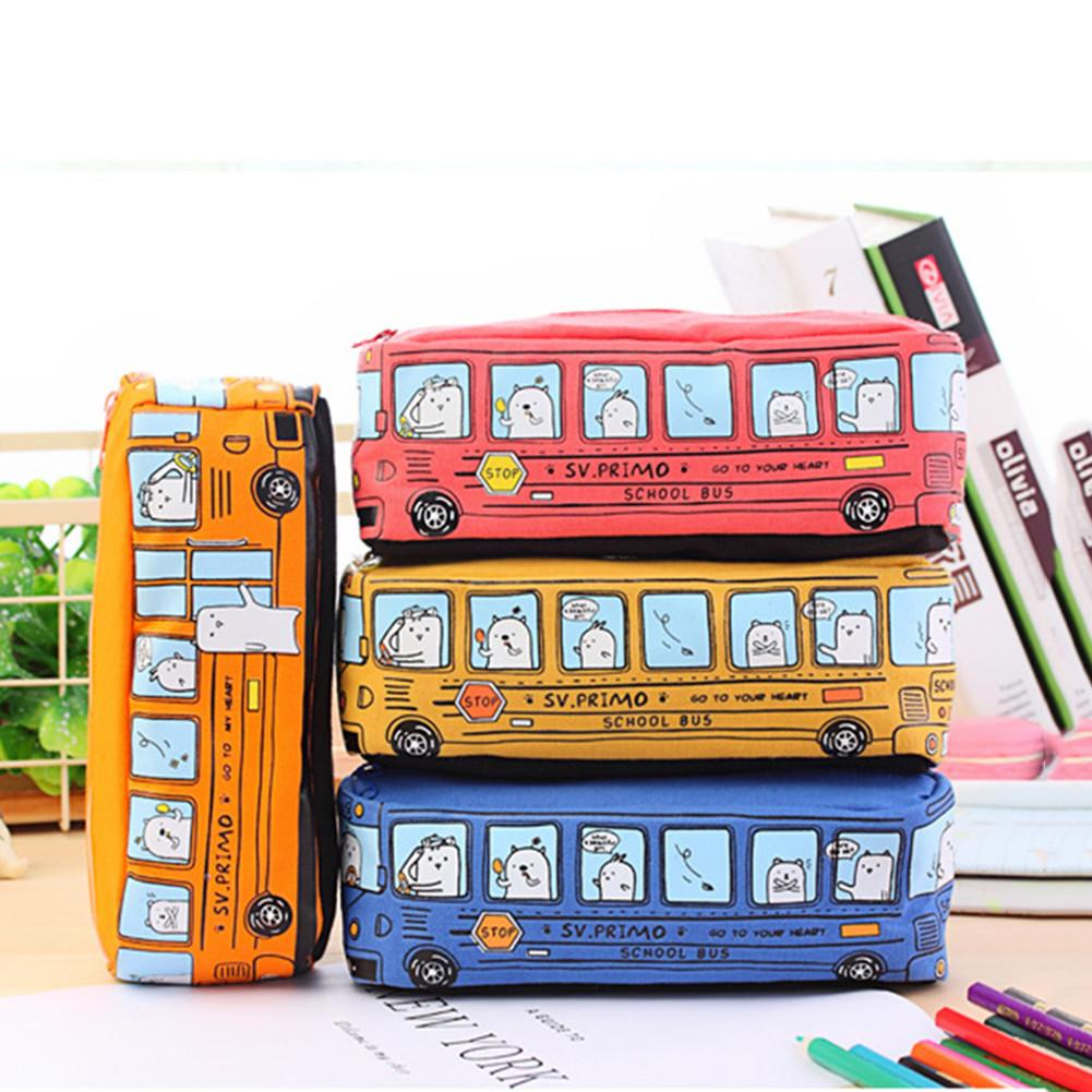 Korean Stationery Holder Pencil Case Simple Animal Pattern Pencil Bag Bus Shaped Pencilcase Office Student Supplies