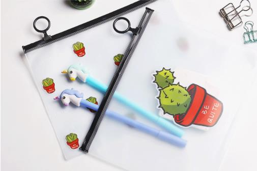 Cactus Pencil Pouch Kawaii Stationery Cartoon File Bag Cute Pencil Case Stationery Student Pen Case Kawaii Office Supplies