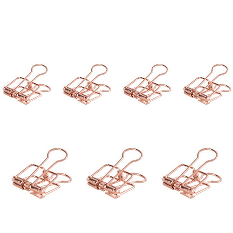 8 pcs/set rose gold hollowed out design binder clip for office school paper organizer stationery supply decorative metal clips