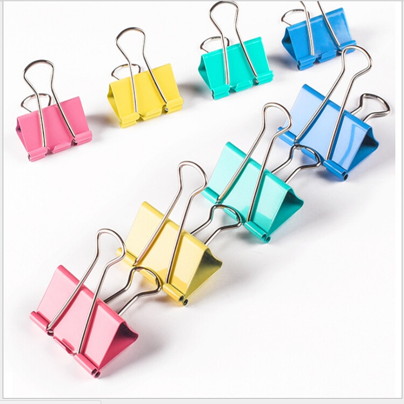 10Pcs/Lot Metal Long Tail Clips 25mm Binder Clip Stationery Folder Office Study Family Learning Tools Colorful