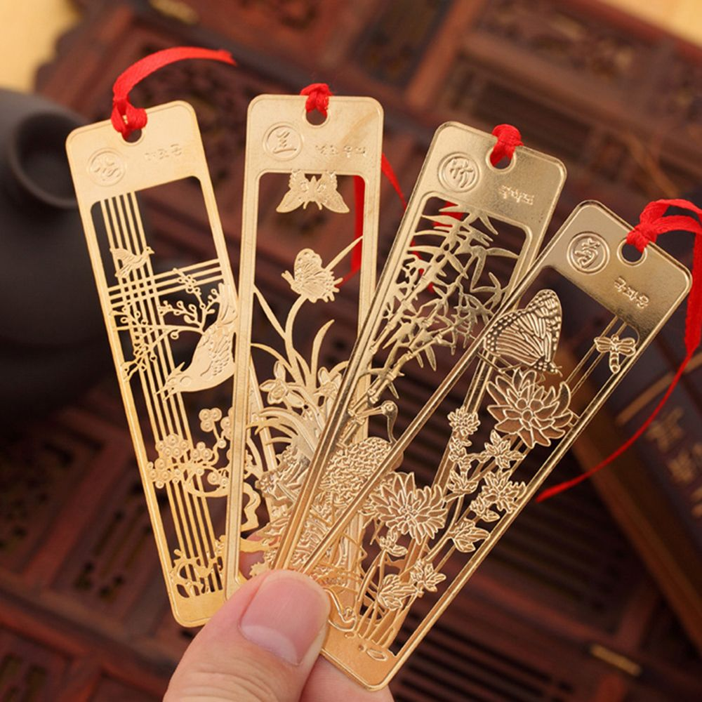 1 Pc Cute Hawaiian Beautiful Chinese Style Retro Fine Metal Bookmarks Student And School Stationery Clip