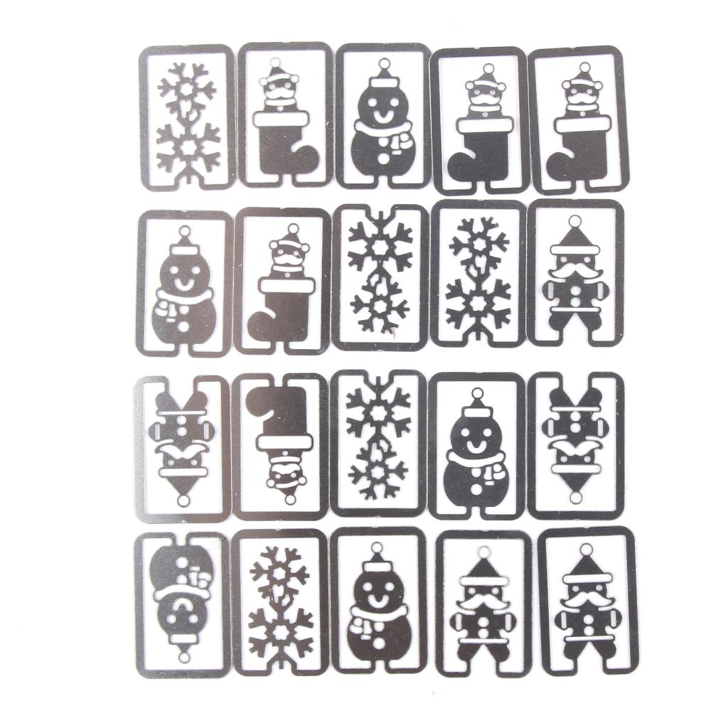 20 pcs/lot (one box) Mini Metal Bookmark Clips Cute Cartoon Animal Plated Sliver Bookmarks Stationery Gift Clips