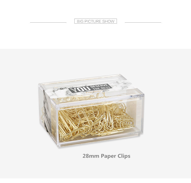 70pcs 50mm Metal Paper Clips U Type Gold Bookmark Clips in Clear Clip Holder the Office & School Supplies Stationery Accessories