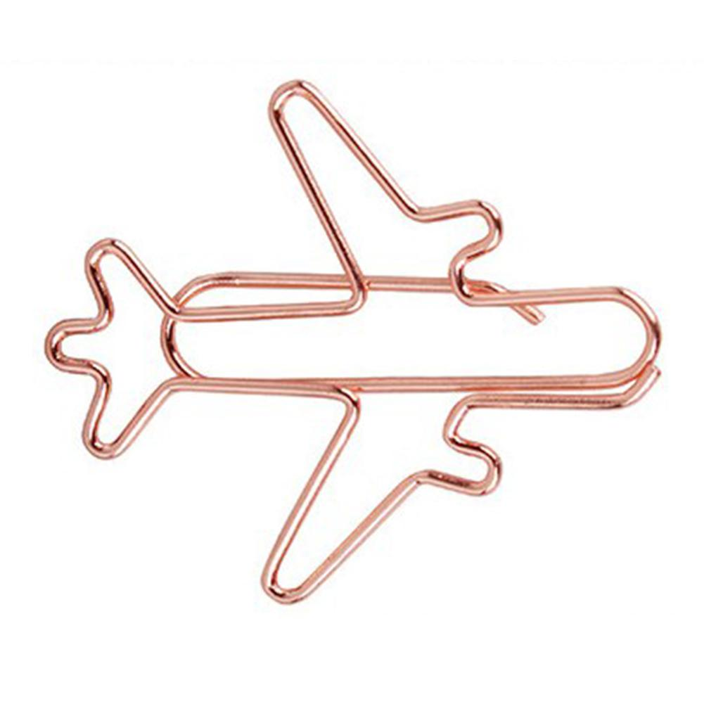12pcs/lot golden airplane shape paper clip material escolar bookmarks for books stationery school supplies papelaria child r20