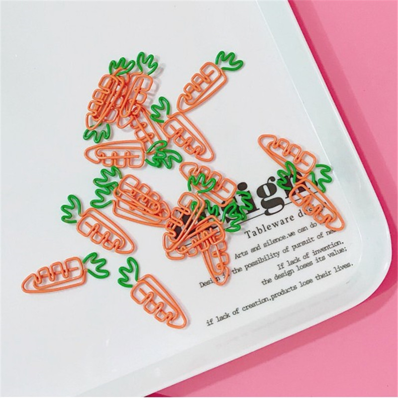 JESJELIU 2Pcs/Lot Creative Carrot Shaped Paper Clip Metal Bookmark Students Stationery School Office Supplies