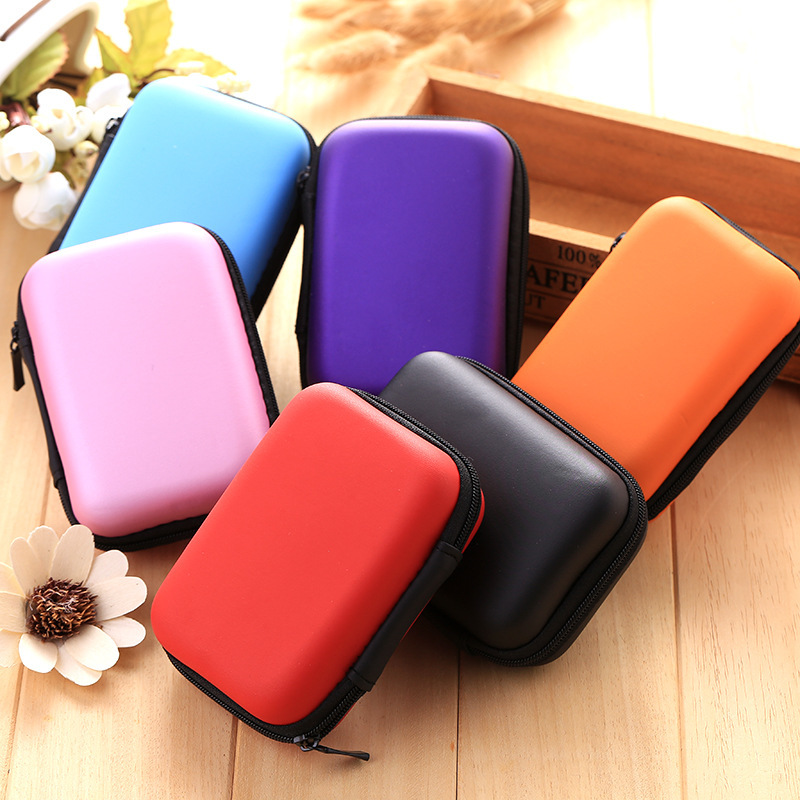 Zipper Leather Paper Clips Bag For SD Card Clips Accessories Hard Earphone Case Headphone Office School Supplies Stationery