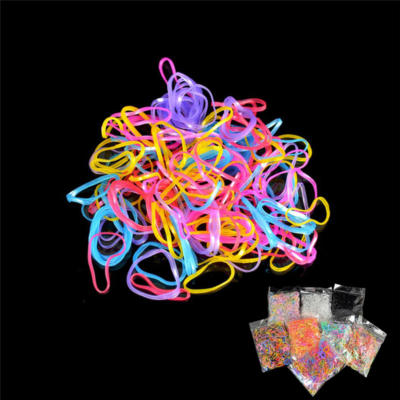 1000pcs Mixed Colors Rubber Bands Small Circle Strong Elastic Rubber Band Girls Hair Rope Stationery Holder Band Office Supplies