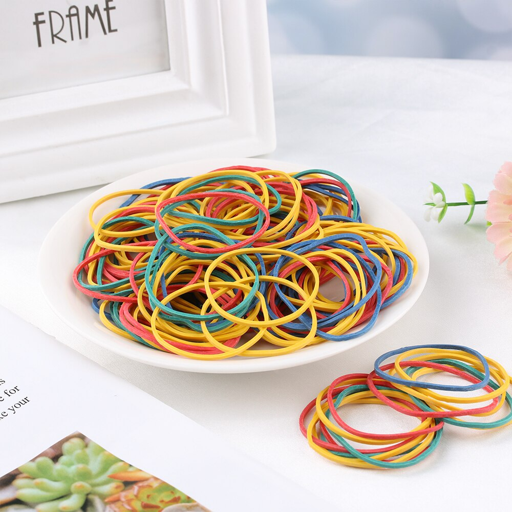 50g/bag Colorful Nature  Rubber Ring Stationery Holder Thermostability Bands Strong Elastic Hair Band Loop Office Pack Supplies