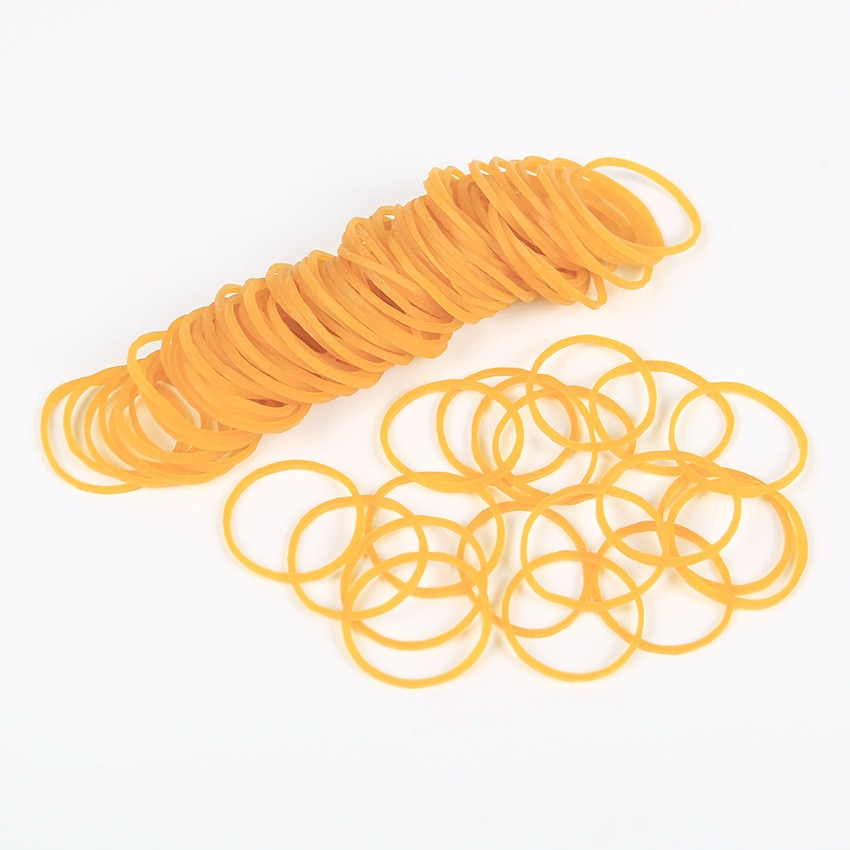 100 PCS Normal Yellow Elastic Rubber Band for Office School Packaging Band Loop Office Stationery Holder Supplies