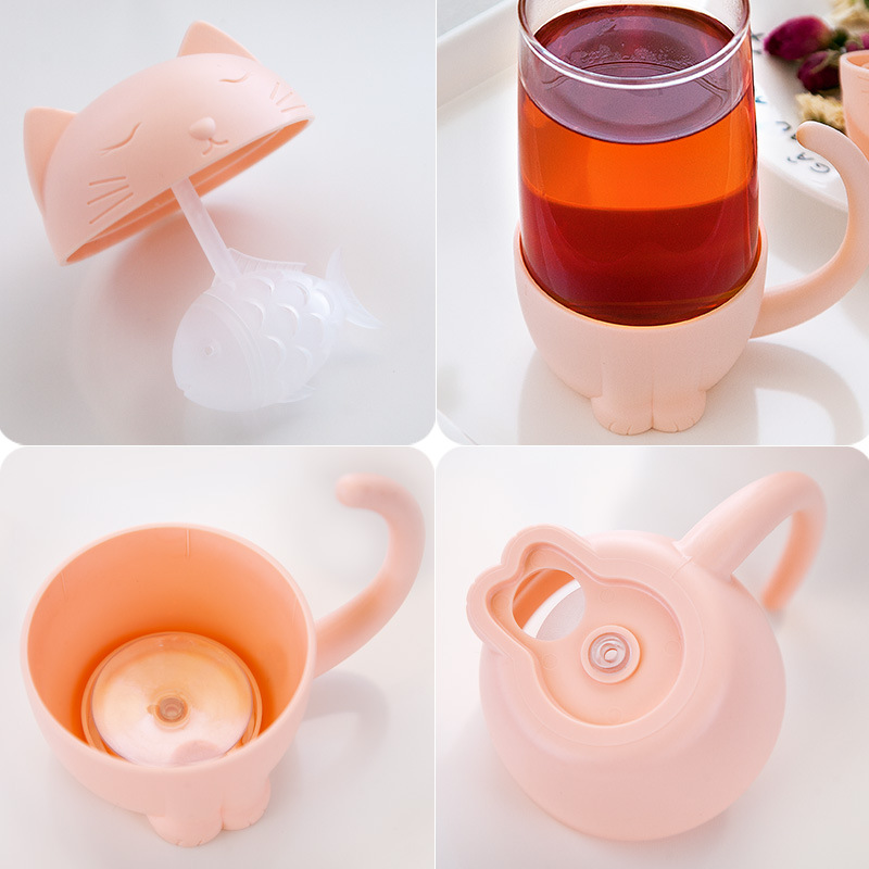 New Fashion Tea Strainer Cat Dog Style Tea Infuser Cup Mug Glass Teabags Kitchen Tool Gadget