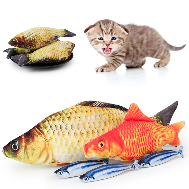 Soft Fish Shape Cat Chewing Toys Funny Pets Interactive Mint Grass Pillow Kitten Teaser Gadgets Cat Nip Scratch Simulation Toys