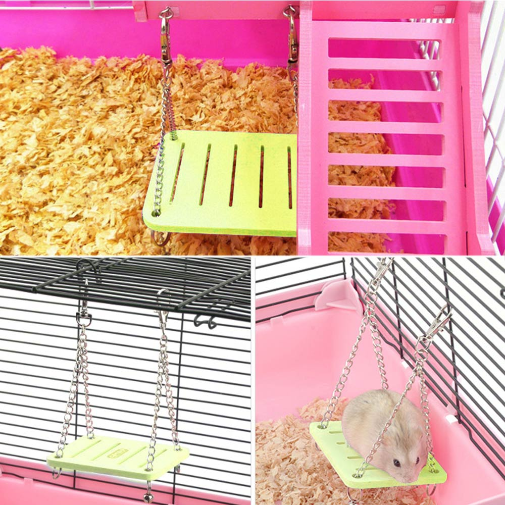 Cute Parrot Hamster Swing Hanging Gadget Wooden Cage Hamster Toy Chinchilla Amuse Mouse Pet  Bridge Accessories Supplies