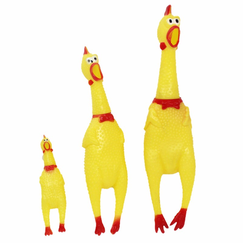 Funny Dog Gadgets Novelty Yellow Rubber Chicken Pet Dog Toy Novelty Squawking Screaming Shrilling Chicken for Cat Pet Supplies