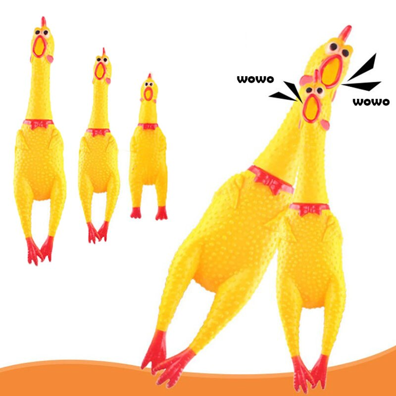 Screaming Chicken Squeeze Sound Toy Pet Product Supply Dog Shrilling Decompression Tool Funny Gadgets Yellow Rubber Vent chicken