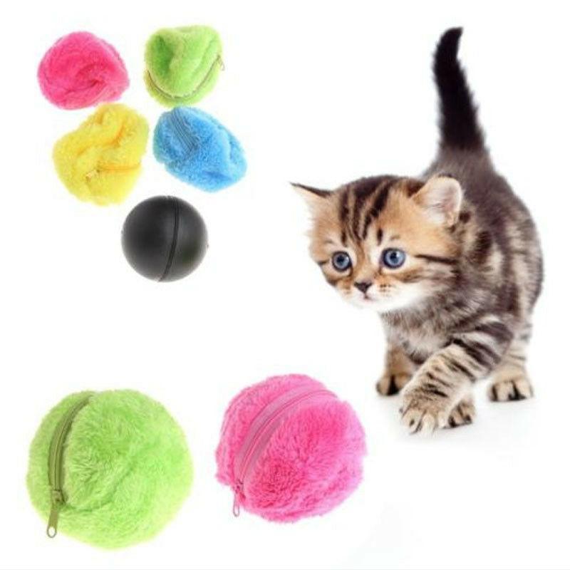 Pet Puppy Kitty Electric Toys Ball Automatic Pet Ball Plush Floor Clean Gadget Automatically Change Direction,Irregular Rolling