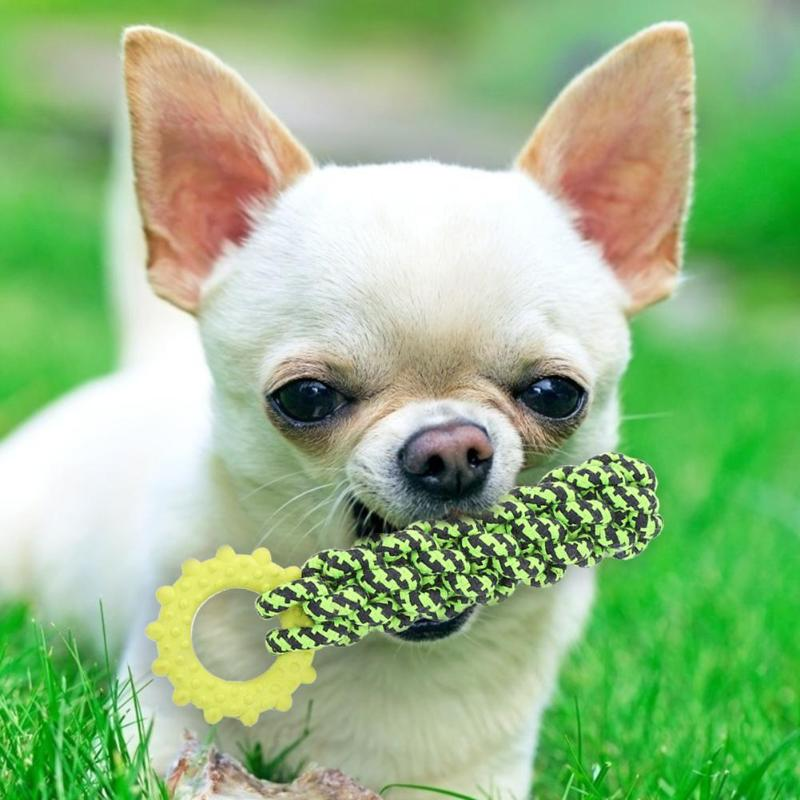 8pcs Green Cotton Rope Puppy Toy Set Delicate Dog Molar Bite Resistant Toy Pet Supplies Necessary Pet Decompression Gadgets
