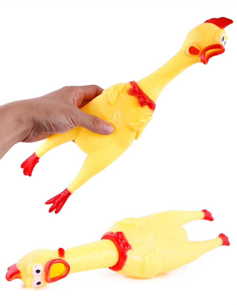 Funny Pet Dog Interactive Training Toy Gadgets Novelty Rubber Emulsion Chicken Pet Dog Toy Novelty Squawking Screaming Chicken