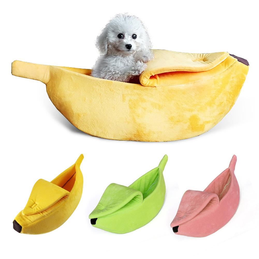 Cute Banana Shape Warm Pets Bed House Dog Puppy Mat Basket Cozy Cat Nest Kennel Ultra-soft Short Plush Necessary Pet Gadgets