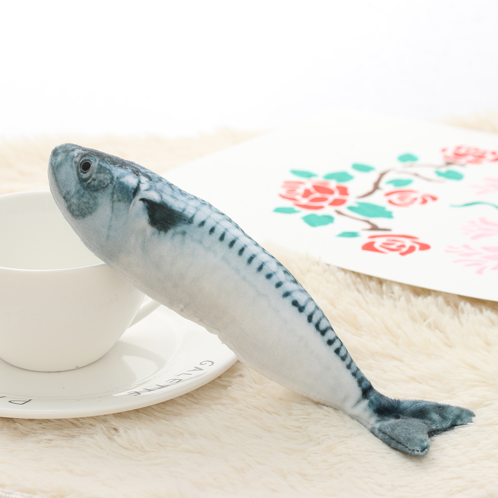 1 PC New Lovely Artificial Fish Plush Pet Cat Puppy Dog Toys Sleeping Cushion Fun Toy Cat Mint Catnip Toys Gadget Aquarium Decor